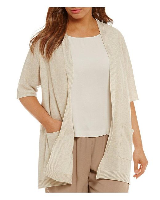 Eileen Fisher | Natural Plus Simple Long Elbow Sleeve Cardigan | Lyst