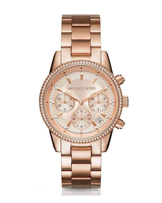 Michael Kors - Metallic Ritz Pavé Chronograph & Date Bracelet Watch - Lyst