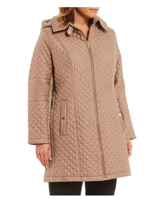 MICHAEL Michael Kors - Brown Plus Diamond Quilted Jacket - Lyst