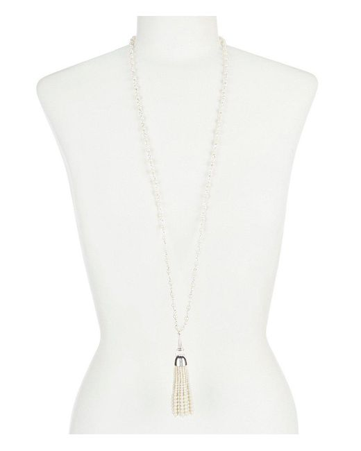 Lauren by Ralph Lauren - White Pearl Tassel Pendant Necklace - Lyst