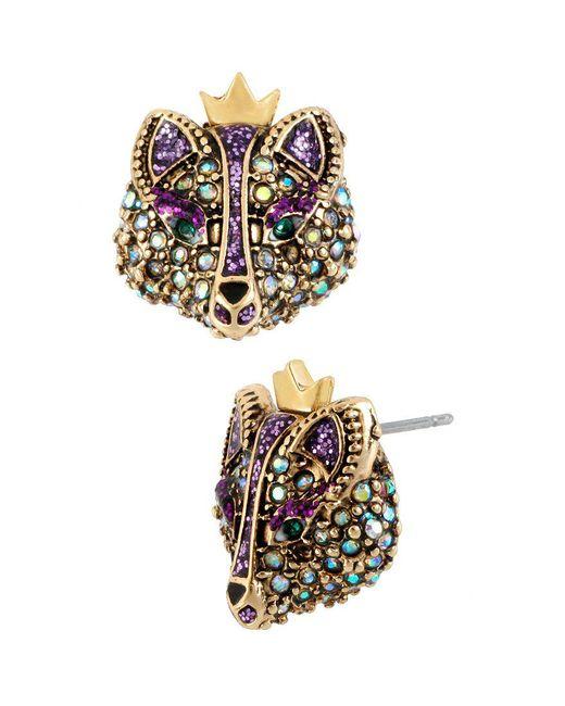 Betsey Johnson - Purple Fox Stud Earrings - Lyst