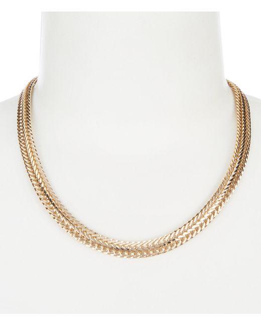 Anne Klein - Metallic Flat Gold Chain Collar Necklace - Lyst
