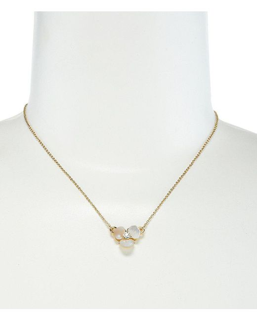 Kate Spade - Metallic Disco Pansy Mother-of-pearl Mini Pendant Necklace - Lyst