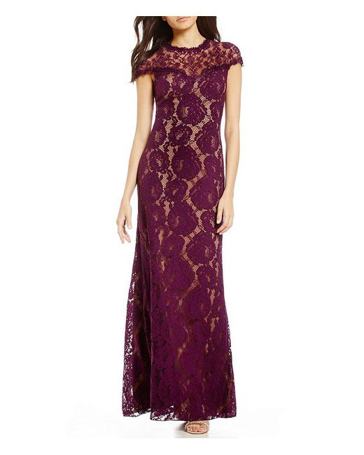 Tadashi Shoji - Purple Illusion Lace Gown - Lyst