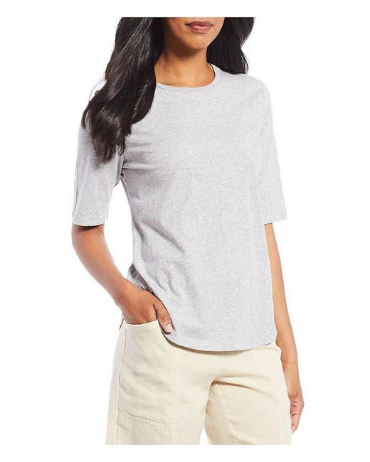 Eileen Fisher - Red Round Neck Elbow Sleeve Top - Lyst