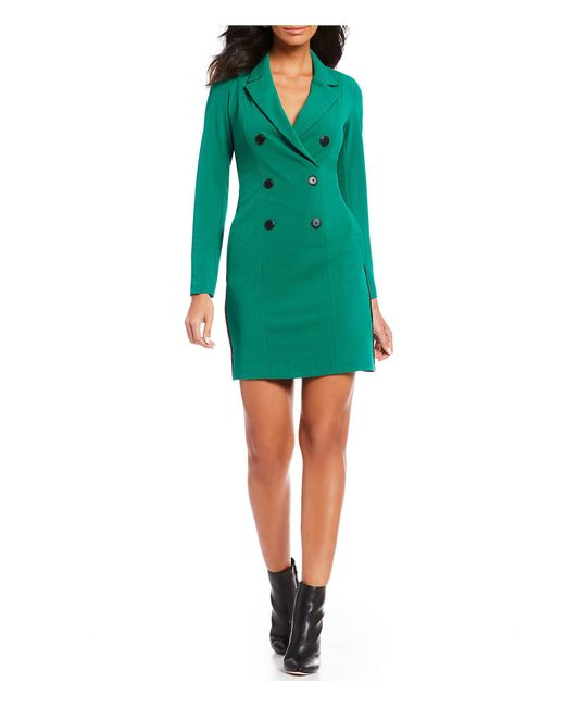 Donna Morgan - Green Contrast Side Panel Notch Collar Long Sleeve Double Breasted Crepe Tuxedo Dress - Lyst