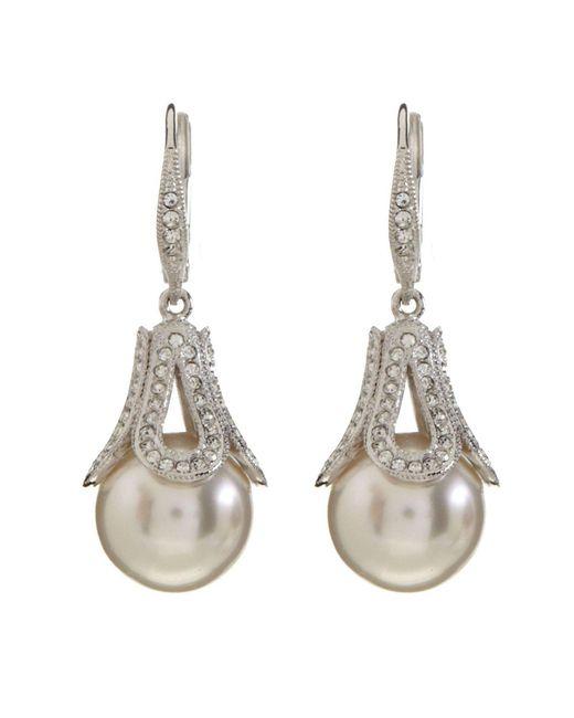 Nadri - Metallic Open Pavé Nacre Pearl Drop Earrings - Lyst