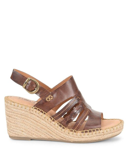 a1b16ea2426d ... Born - Brown Payson Leather Espadrille Wrapped Wedge Sandals - Lyst ...