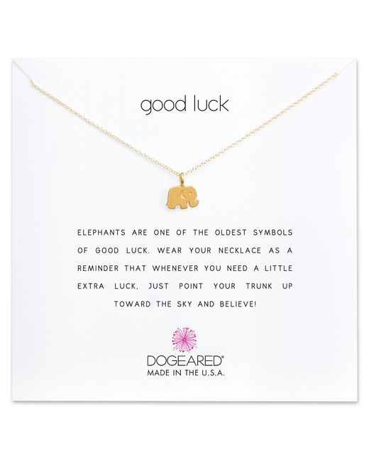 Dogeared - Metallic Good Luck Elephant Charm Delicate Gold-dipped Sterling Silver Necklace - Lyst