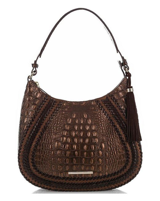 Brahmin | Brown Palermo Collection Amira Tasseled Crocodile-embossed Whip-stitched Hobo Bag | Lyst