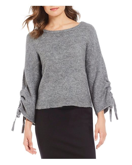 Kenneth Cole - Gray Boat Neck Drawstring Sleeve Cropped Sweater - Lyst
