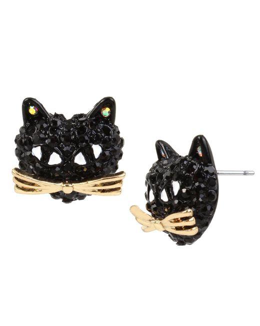 Betsey Johnson - Pavé Black Cat Stud Earrings - Lyst