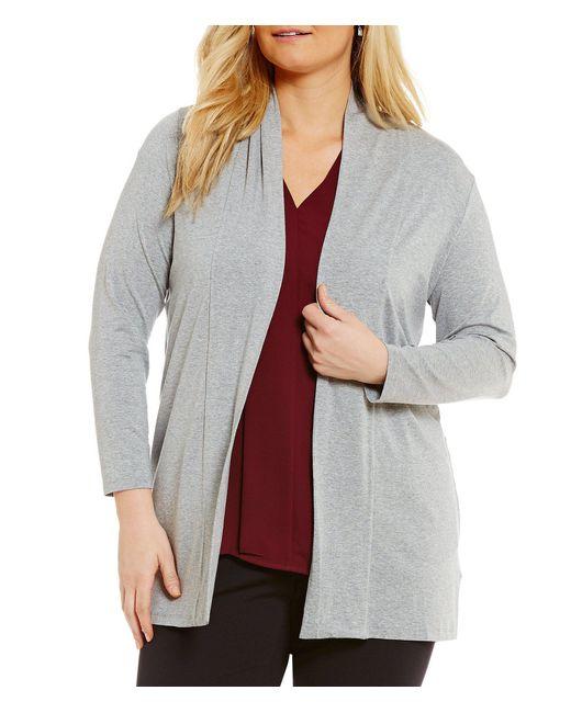 Vince Camuto Gray Plus 34 Sleeve Knit Tunic Cardigan