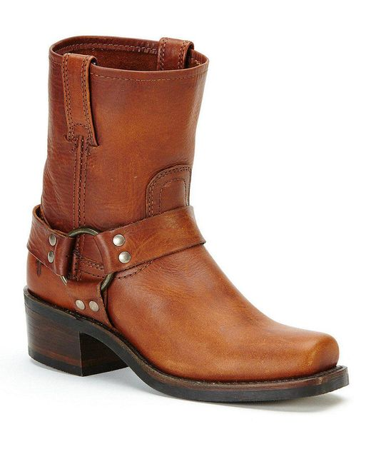 Frye | Brown Harness 8r Leather Strap And Buckle Pull-on Boots | Lyst