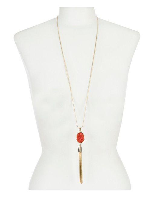 Dillard's - Metallic Tailored Coral Druzy Long Tassel Necklace - Lyst