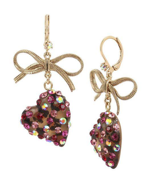 Betsey Johnson | Pink Bow & Leopard Heart Drop Earrings | Lyst