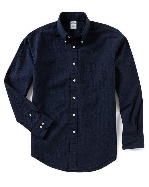 Brooks Brothers - Blue Seersucker Stripe Regent-fit Long-sleeve Woven Shirt for Men - Lyst