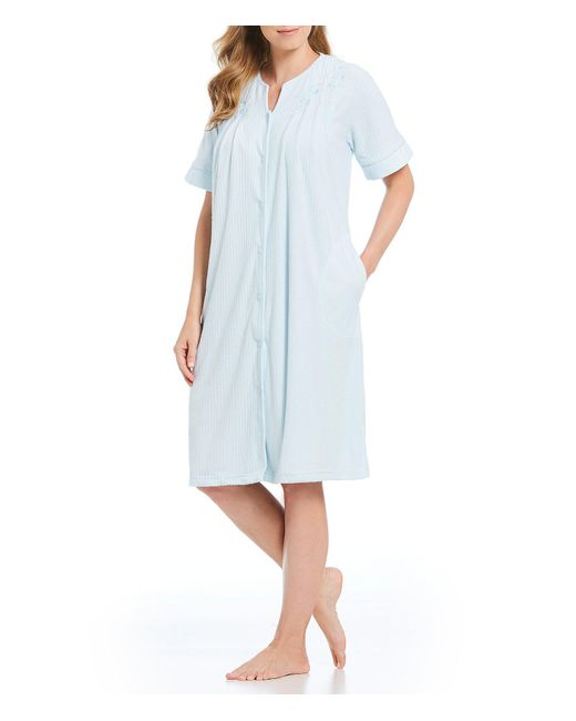 Miss Elaine - Blue Petite Striped Drop Needle Grip-front Robe - Lyst