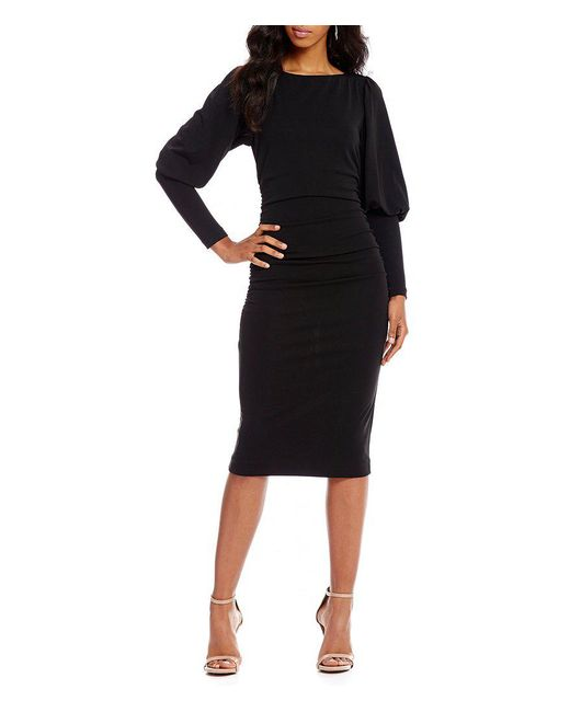 Nicole Miller Artelier | Black Puff Sleeve Matte Jersey Sheath Dress | Lyst