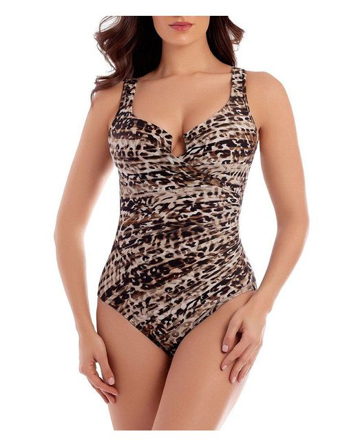 Miraclesuit | Brown Wild Side Escape Underwire Enhancing One-piece | Lyst