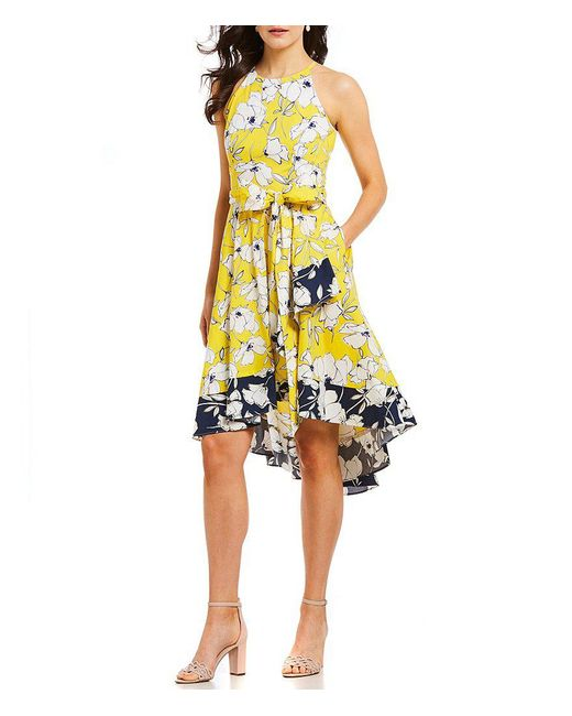 Eliza J - Yellow Floral Two Tone Halter Dress - Lyst