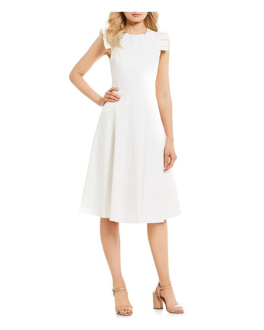 84846fd8bee Antonio Melani - White Lois Pleated Cap Sleeve Fit   Flare Midi Dress - Lyst  ...