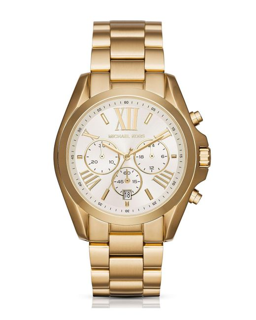 Michael Kors - Metallic Bradshaw Chronograph & Date Bracelet Watch - Lyst