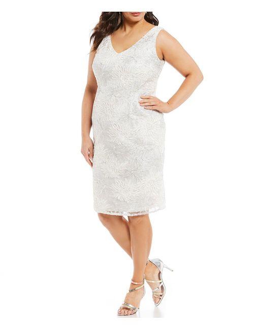 8f0b97fd13c Adrianna Papell - White Plus Size V-neck Soutache Sheath Dress - Lyst ...