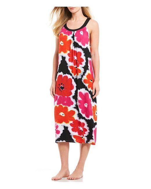 Donna Karan - Red Floral-print Jersey Knit Long Tank Gown - Lyst