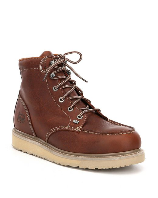 Timberland - Brown Pro Mens Barstow Wedge Moc Soft Toe Work Boots for Men - Lyst