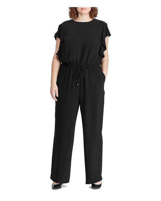 a9ad47d2b6f Lauren by Ralph Lauren - Black Plus Size Ruffle-trim Twill Drawstring Waist  Jumpsuit ...