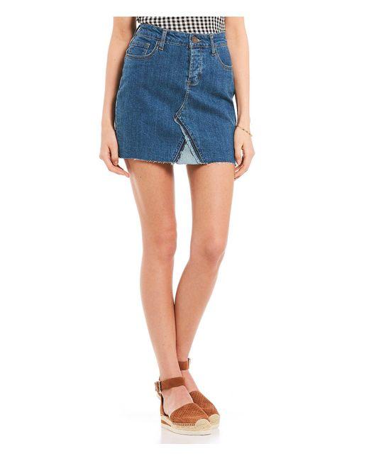 Celebrity Pink - Blue Denim Raw Edge Mini Skirt - Lyst