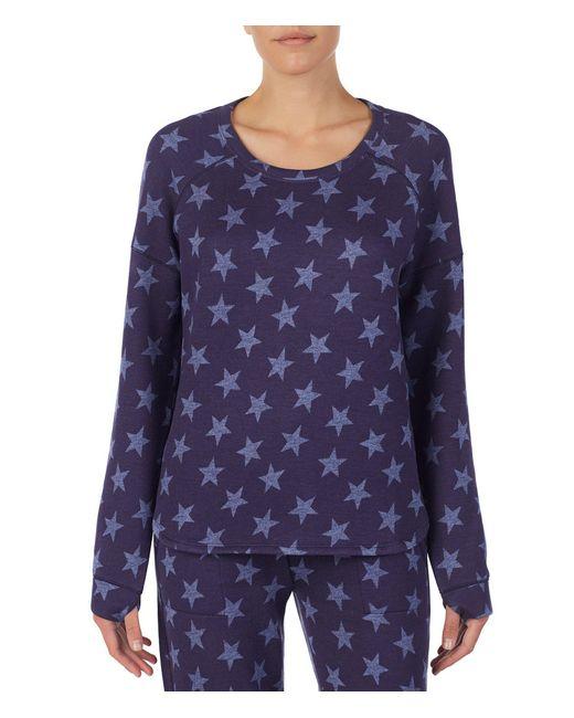 Kensie Blue Long Sleeve Pajama Top