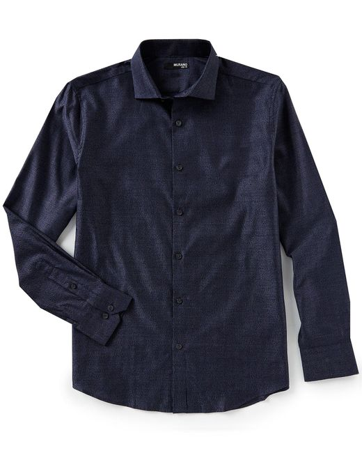 Murano - Blue Slim-fit Jaspe Stripe Coatfront Spread Collar Long-sleeve Woven Shirt for Men - Lyst