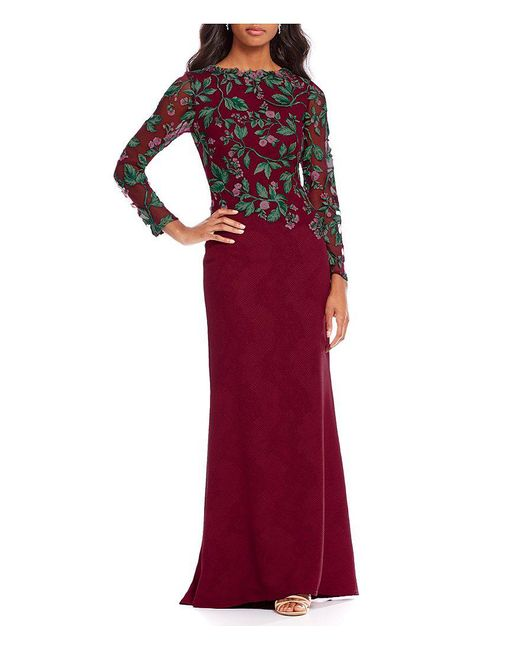 Tadashi Shoji | Embroidered Long Sleeve Gown | Lyst