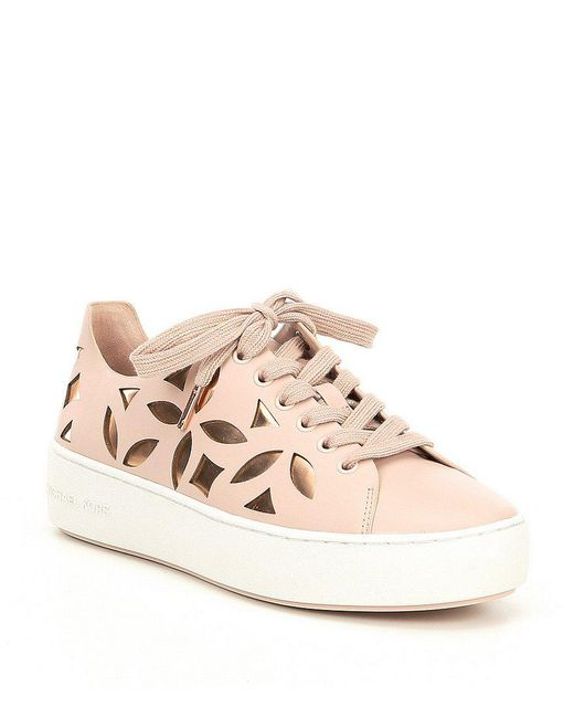 MICHAEL Michael Kors - White Mimi Perforated Leather Lace Up Sneakers - Lyst