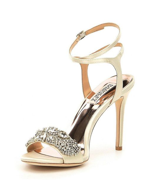 Badgley Mischka Hailey Satin Rhinestone Ankle Strap Dress Sandals EdI7dEaS