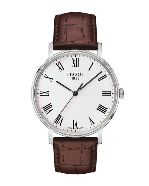 Tissot - Brown T-classic Everytime Medium Stainless Steel And Leather-strap Watch for Men - Lyst