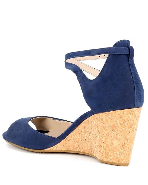 f38dd68b8e ... Cole Haan - Blue Sadie Nubuck Leather Grand Cork Wedge Sandals - Lyst