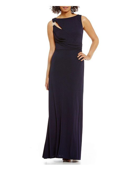 David Meister   Blue Cut-out Jersey Gown   Lyst