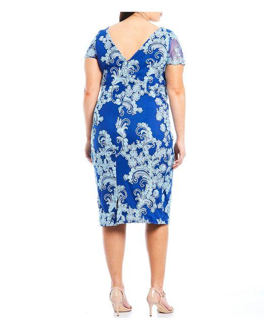 c55608749a6 ... JS Collections - Blue Plus Size Short Sleeve Soutache Embroidered  Sheath Dress - Lyst ...