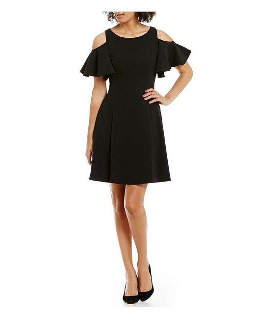 Eliza J | Blue Short Flutter Sleeve Cold Shoulder Fit & Flare Dress | Lyst