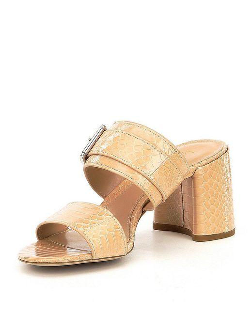Lauren Ralph Lauren Farie Snake Embossed Block Heel Dress Sandals Cv3CjE0