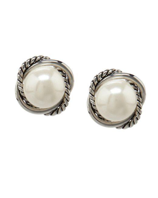 Dillard's - Brown Dillards Boxed Rope Faux-pearl Stud Earrings - Lyst