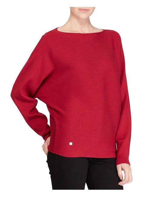 Lauren by Ralph Lauren | Red Cotton-blend Dolman Sweater | Lyst