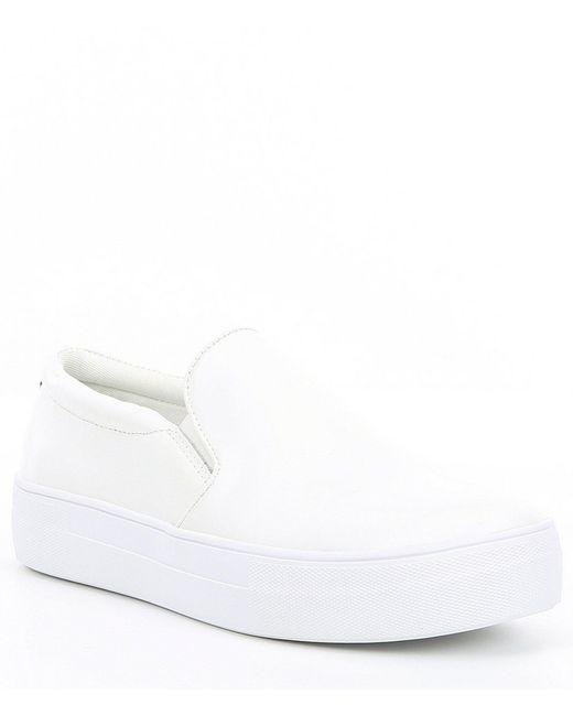 4cd6b96eebc Steve Madden - White Gills Leather Platform Slip On Sneakers - Lyst ...