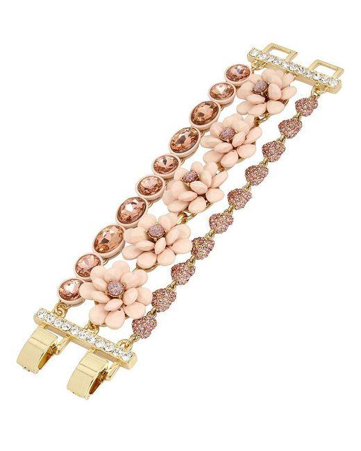 Betsey Johnson | Pink Flower Multi-row Toggle Bracelet | Lyst