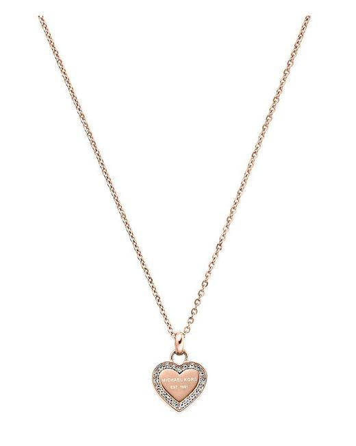 Michael Kors - Metallic Logo Heart Stainless Steel Pendant Necklace - Lyst