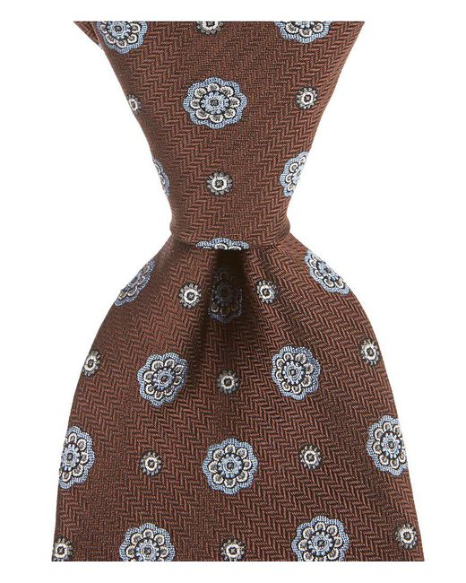 """Brooks Brothers - Red Spaced Medallion Traditional 3.25"""" Silk Tie for Men - Lyst"""