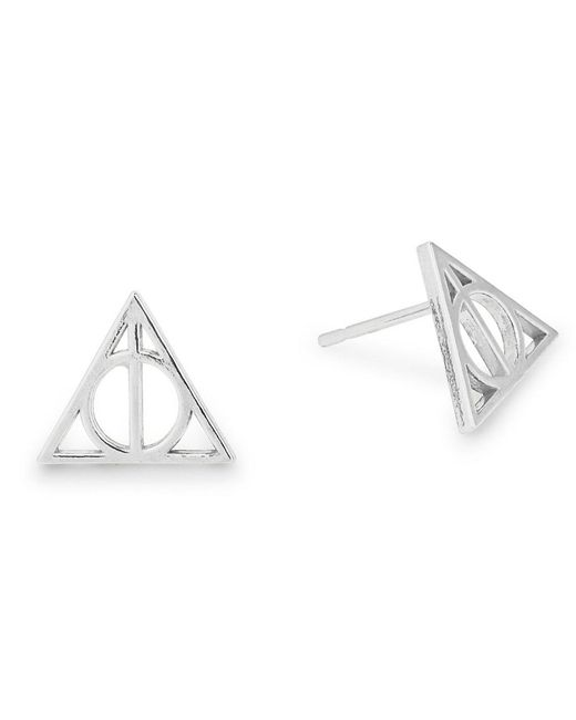 ALEX AND ANI - Metallic Harry Potter Deathly Hallows Sterling Silver Stud Earrings - Lyst